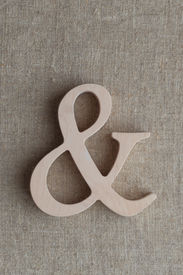 picture of ampersand  - Wooden symbol Ampersand on a sacking background - JPG