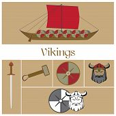 picture of viking ship  - vector viking warrior with horns on his helmet - JPG