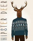 image of knitwear  - Hand Drawn Vector Illustration of Hipster Deer in sweater with people - JPG