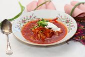 foto of lenten  - lenten soup a borsch with sandwiches from black bread and sausage - JPG