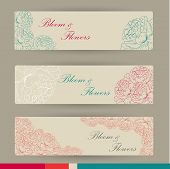 pic of get well soon  - Set of horizontal banners with flowers in vintage colors - JPG