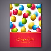 picture of egg  - Happy Easter Greeting Card Design with Colorful Eggs - JPG