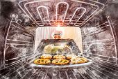 picture of pastry chef  - Funny chef overlooked pastries in the oven - JPG