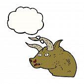 stock photo of bull head  - cartoon angry bull head with thought bubble - JPG