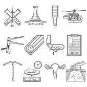 picture of obstetrics  - Set of black flat line vector icons for obstetrics and gynecology on white background - JPG
