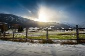 picture of farm landscape  - Beautiful landscape of highland farm in Austrian Alps at sunset - JPG