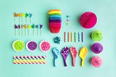 stock photo of birthday  - Overhead view of birthday party object collection - JPG