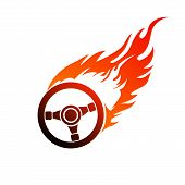 stock photo of steers  - Reddish orange symbol burning automobile steering  for your design - JPG
