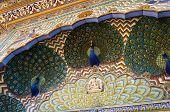 stock photo of india gate  - Peacock Gate at the Chandra Mahal Jaipur City Palace Jaipur Rajasthan India - JPG