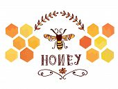 stock photo of bee-hive  - Honey label with bee and cells  - JPG