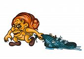 picture of troll  - Illustration a horrid troll with fish in nets - JPG