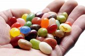 foto of jelly beans  - fruit jelly beans on hand on white background - JPG
