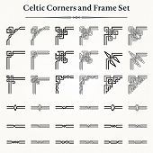 stock photo of celtic  - Set of Celtic corners and borders to create your own frame model - JPG