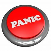 picture of panic  - Panic button isolated over white 3d render - JPG
