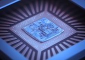 stock photo of microprocessor  - Microchip on board - JPG