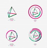 image of triangular pyramids  - Pyramid shape line design - JPG