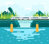 stock photo of train-wheel  - Wagons Bridge over River Tourism and Journey Symbol Railroad Train Travel Concept on Stylish Mountain Sky Background Flat Design Vector Illustration - JPG