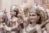picture of saraswati  - A shop selling large marble Hindu deities in India - JPG