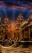 picture of mystical  - Mystical temples of Cambodia at night before sunrise - JPG