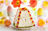 stock photo of easter candy  - Traditional Easter quark dessert with the candied fruits - JPG