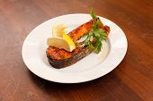 stock photo of salmon steak  - grilled salmon steak - JPG
