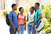 picture of afro  - happy afro american university students chatting outdoors - JPG