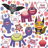 picture of monsters  - happy birthday Funny monsters party card design - JPG