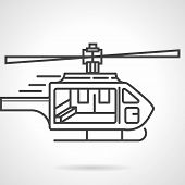 foto of rotor plane  - Single black flat line icon for emergency helicopter on white background - JPG