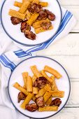 image of liver fry  - macaroni with a fried chicken liver - JPG
