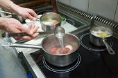 foto of oxen  - Chef is cooking ox tail - JPG