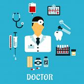 image of tubes  - Doctor therapist in flat style with medical icons as tubes - JPG