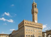 picture of piazza  - Palazzo Vecchio in Piazza della Signoria in Florence, Tuscany, Italy ** Note: Visible grain at 100%, best at smaller sizes - JPG
