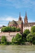 picture of tourist-spot  - View up to the famous medieval Munster Hill with the red sandstone cathedral - JPG