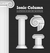 foto of greek  - Vector illustration of classical Greek or Roman Ionic column - JPG