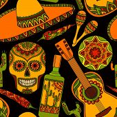foto of sombrero  - Vector seamless pattern with traditional mexican symbols - JPG