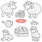 stock photo of farm  - Set of cute farm animals and objects vector family sheep - JPG