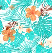 stock photo of jungle flowers  - Bright seamless summer pattern with palm tree leaves and hibiscus flowers - JPG