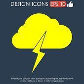 stock photo of lightning bolt  - Lightning bolt weather flat line icon infographic illustration template for web or brochure - JPG