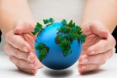 stock photo of presenting  - Hands presenting against earth with forest - JPG