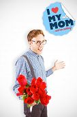 image of bunch roses  - Geeky hipster holding a bunch of roses against mothers day greeting - JPG