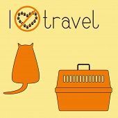 stock photo of petting  - Cute brown contoured foxy colored fat cat sitting back orange plastic pet carrier with brown handle and lettering I dislike travel isolated on ginger background - JPG
