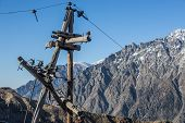 pic of greater  - old electricity pole near Stepantsminda town Greater Caucasus Mountains Georgia - JPG