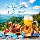 pic of pretzels  - Roasted pork knuckle with pretzels and beer - JPG