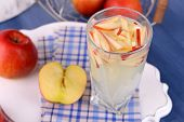 picture of cider apples  - Glass of apple cider with fruits on table close up - JPG