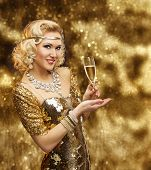 stock photo of night gown  - Rich Woman with Champagne Glass Retro Lady Celebrating in Shining Gold Dress VIP Girl in Golden Gown - JPG