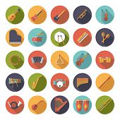 stock photo of congas  - Musical Instruments Circular Flat Design Vector Icons Collection - JPG