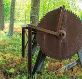 pic of lumber  - antique old saw for milling lumber from another time left in the woods - JPG