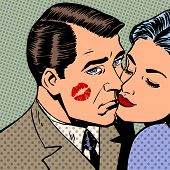 stock photo of sad face  - Sad man with traces of a kiss on the face and a woman Halftone style art pop retro vintage - JPG