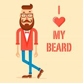 pic of beard  - Modern hipster guy with a great beard and mustache and love beard text - JPG