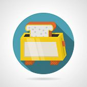 pic of flat-bread  - Round blue flat color design vector icon for new yellow toaster with roasted slice of bread on gray background with long shadows - JPG